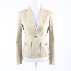 Theory beige cotton blend long sleeve jacket 4